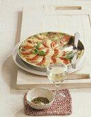 Torta caprese al pesto (tomato tart with mozzarella and pesto)