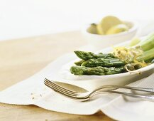 Asparagi in salsa (asparagus with anchovy sauce, Italy)