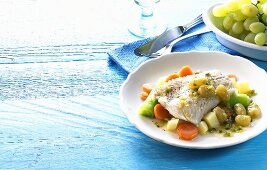Fish with grape sauce and vegetables (Greece)