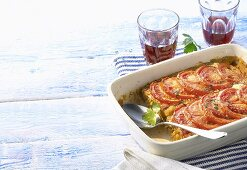 Fish bake with tomatoes, red wine (Greece)