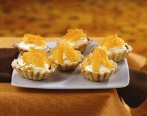 Orange tarts with white chocolate mousse