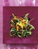 Mussel and polenta terrine on rocket salad