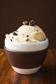 Mocha ice cream with mocha beans in bowl