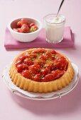 Strawberry flan, whipped cream, fresh strawberries