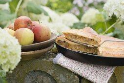Apple pie on a stone post