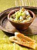 Middle Eastern aubergine dip with spring onions, flatbread