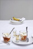 Banoffee pudding (banana-toffee pudding) with vanilla vodka