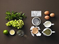 Ingredients for Bavarian Munster cheese cream with white mint and grape salad