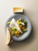 Halibut with oranges, vodka and leek with rouille and pot bread from Brooklyn