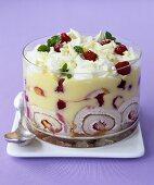 White chocolate and raspberry trifle
