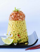 Rice-shaped pasta with salmon tartare