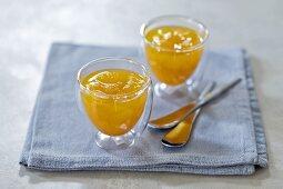 Mango jam in two glasses