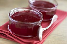Raspberry jelly in two glasses