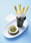 White asparagus with shallot vinaigrette as dipping sauce