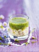 Scallop tartare with pesto in glass