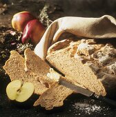 Apple bread and fresh apples