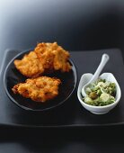 Maryland crab cakes with onion and caper relish