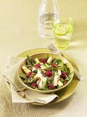 Asparagus and raspberry salad with spinach and rocket
