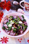 Corn salad with duck breast and quails' eggs for Easter