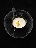 Chestnut soup with gold leaf