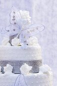Wedding cake with rhinestones and butterfly