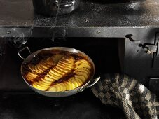 Potato gratin in oven
