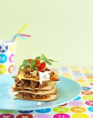 Stack of tortillas with mince for children