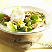 Salad with poached egg, anchovies, chicken and olives