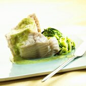 Sea bass with courgette and vanilla sauce
