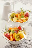 Fruit salad with rose