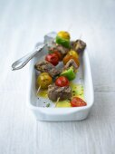 Grilled lamb and tomato kebabs