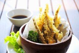 Japanese fish tempura with soy dip