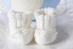 White baby bootees