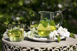 Peppermint tea with herb liqueur
