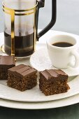 Chocolate squares and coffee