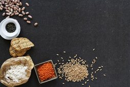 Still life with cereal, flour, pulses and crackers