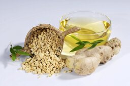 Ginger tea and ginger root