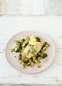 Fish with lemon and courgettes