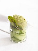 Avocado sorbet with pink peppercorns