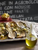 Barbecued aubergine slices with parsley pesto and marinated Parmesan