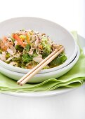 Chicken and prawn salad with mint