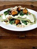 Pumpkin lasagne with spinach, mascarpone, onion marmalade & walnuts