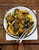 Roasted winter squash with pumpkin seeds and thyme