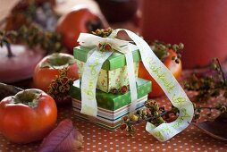 Gift wrapped boxes with Japanese persimmons