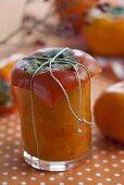 Japanese persimmon chutney in a jar