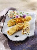 Pancakes with apple and ham filling