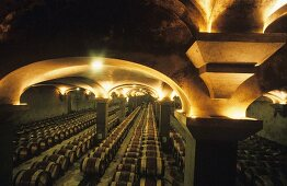 The wine cellar of Chateau Margaux, Medoc, France