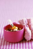 Fruit minestrone with grape juice gelatine