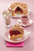 Sponge cake with cherries and chocolate mousse