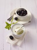 Buttermilk mousse with blackberry jelly